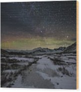 Starry Night In Iceland Wood Print