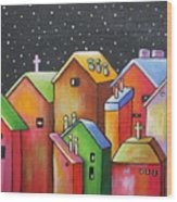Starry Night In The Little City 1 Wood Print