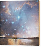 Starry Night Over A Mountain Lake Fantasy Wood Print