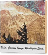 Starry Night Over Mount Baker Wood Print