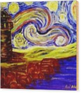 Starry Night Over Nubble Lighthouse  Wood Print