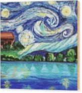 Starry Night Over The Lake Wood Print