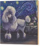 Starry Night Poodle Wood Print