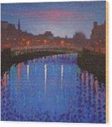 Starry Nights In Dublin Ha' Penny Bridge Wood Print by John  Nolan