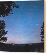 Starry Rocky Mountain Forest Night Wood Print