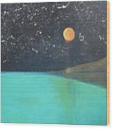 Starry Sky Above The Ocean Wood Print