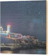 Starry Sky Of The Nubble Light In York Me Cape Neddick Wood Print