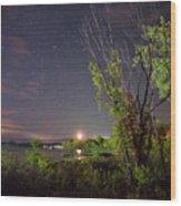 Starry Sky Over Lake Champlain New York Wood Print