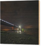 Starry Sky Over The New York To Vermont Bridge Lake Champlain Wood Print