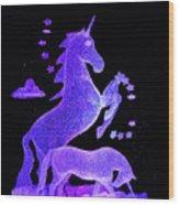 Starry Unicorns Wood Print