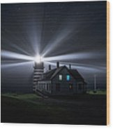 Stars And Light Beams - West Quoddy Head Lighthouse Wood Print
