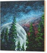 Stars And Moon Wood Print
