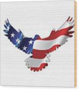 Stars And Striped Eagle Wood Print
