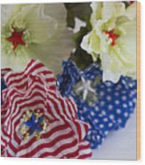 Stars And Stripes Bouquet Wood Print