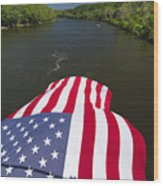 Stars And Stripes Flies Over The Delaware River Wood Print