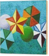 Stars Circles And Hexagons Wood Print