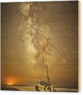 Stars Over Fishing Boat Wood Print