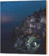 Stars Over The Grotto Wood Print