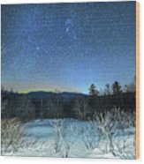 Stars Over The New Hampshire White Mountains Wood Print