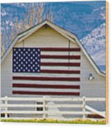 Stars Stripes And Barns Wood Print
