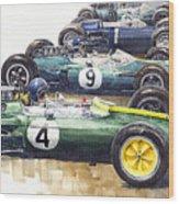 1963 Start British Gp  - Lotus  Brabham  Brm  Brabham Wood Print