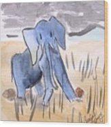 Startled Elephant Wood Print