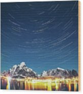 Startrails Above Reine Wood Print