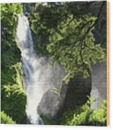 Starvation Creek Falls In September  Wood Print