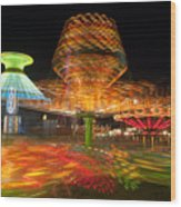 State Fair Rides At Night I Wood Print by Clarence Holmes