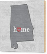 State Map Outline Alabama With Heart In Home Wood Print