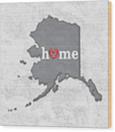 State Map Outline Alaska With Heart In Home Wood Print