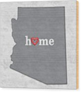 State Map Outline Arizona With Heart In Home Wood Print
