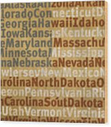 State Names American Flag Word Art Red White And Blue Wood Print