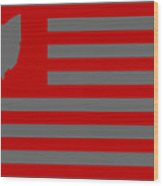 State Of Ohio - American Flag Wood Print