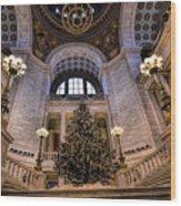 Stately Christmas Tree Wood Print