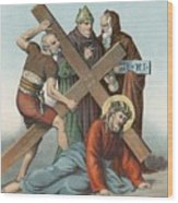 Station Ix Jesus Falls Under The Cross The Third Time Wood Print