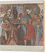 """Station Of The Cross No. 5: """"jesus Is Assisted In Carrying His Cross Wood Print"""