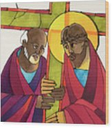 Stations Of The Cross - 05 Simon Helps Jesus Carry The Cross - Mmshj Wood Print