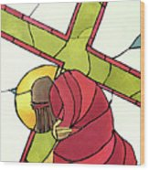 Stations Of The Cross - 07 Jesus Falls A Second Time - Mmjti Wood Print