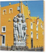 Statue And Yellow Theater Wood Print