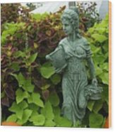Statue At Kelly Gardens Chuckatuck Wood Print