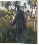 Statue At Mission Carmel Wood Print