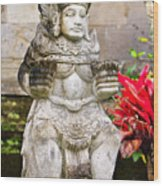 Statue At Pura Besakih Wood Print