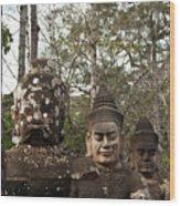 Statue Heads Ankor Thom Wood Print