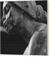 Statue In Black And White Wood Print