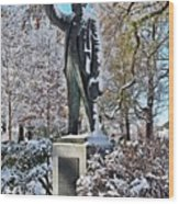 Statue In The Snow Wood Print