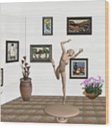 Statue Of A Dancing Girl On Ice 2 Wood Print