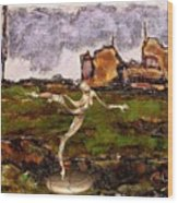 Statue Of A Zombie 2 Wood Print