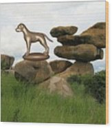 Statue Of Dog Wood Print