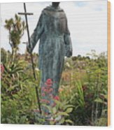 Statue Of Father Serra At Carmel Mission Wood Print
